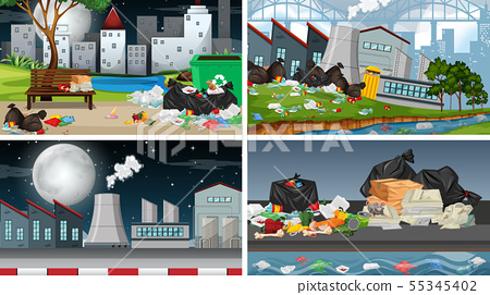 Set of polluted scenes 55345402