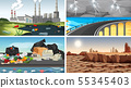 Set of polluted scenes 55345403