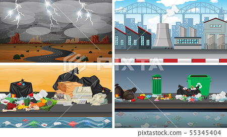 Set of polluted scenes 55345404