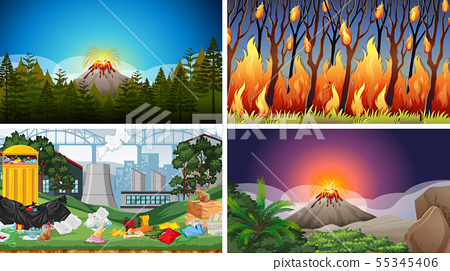 Set of polluted scenes 55345406