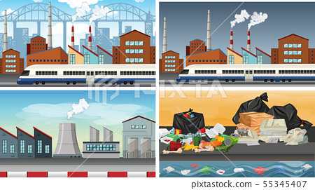 Set of polluted scenes 55345407