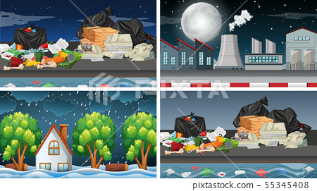 Set of polluted scenes 55345408