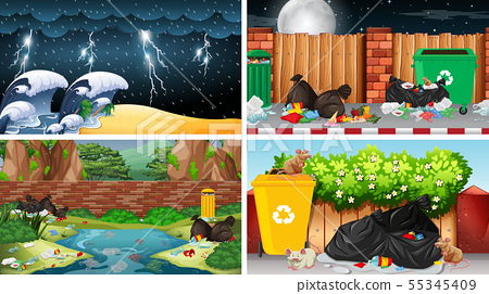 Pollution scenes in urban and natural settings 55345409