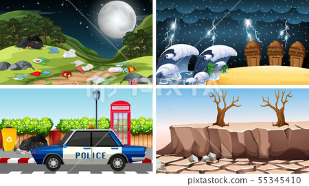 Set of polluted scenes 55345410