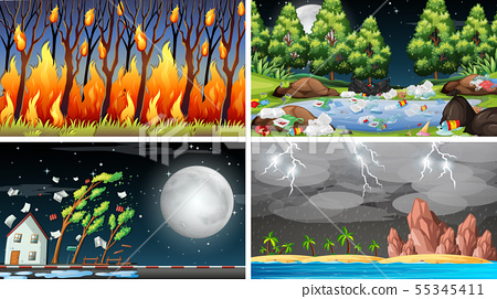 Set of polluted scenes 55345411