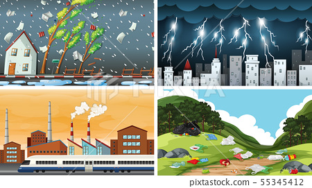 Set of polluted scenes 55345412