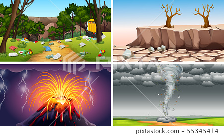Set of polluted scenes 55345414