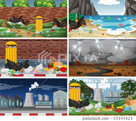 Set of polluted scenes 55345423