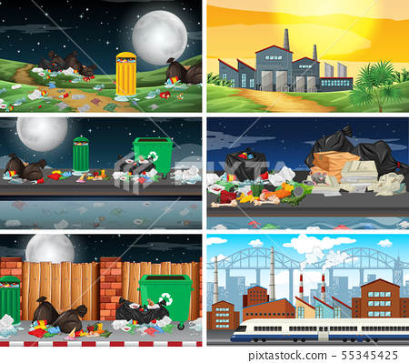 Set of polluted scenes 55345425