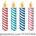 Set of color candles isolated 55345466