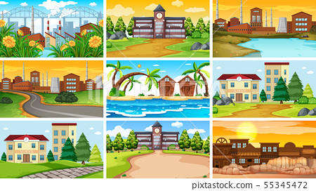 Set of scenes in nature setting 55345472