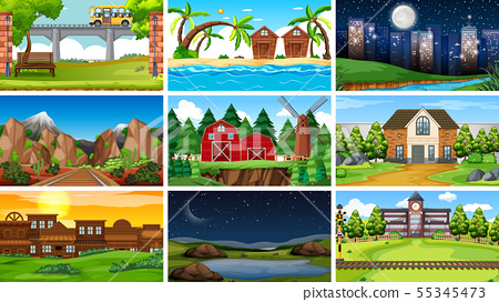 Set of scenes in nature setting 55345473