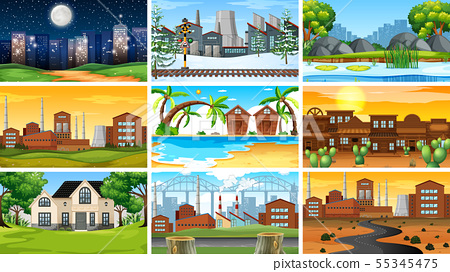 Set of scenes in nature setting 55345475