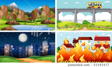 Set of outdoor nature scenes blank empty templates 55345477