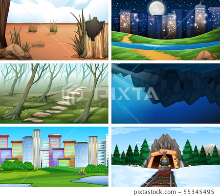 Set of scenes in nature setting 55345495