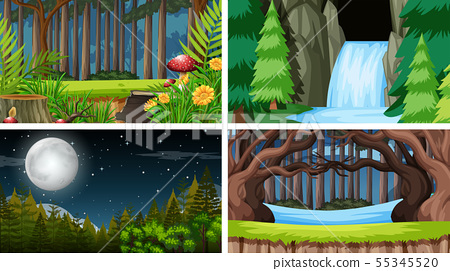 Set of outdoor nature scenes blank empty templates 55345520
