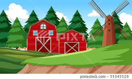Natural environment scenes landscape with farm 55345529