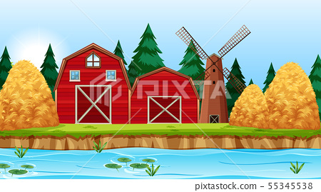 Natural environment scenes landscape with farm and 55345538