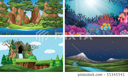 Set of scenes in nature setting 55345541