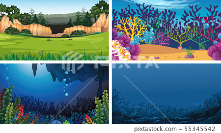 Set of outdoor nature scenes blank empty templates 55345542