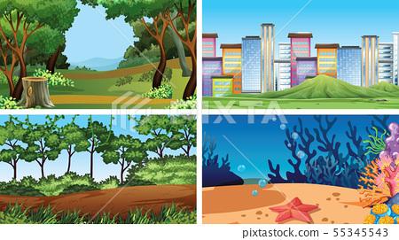 Set of outdoor nature scenes blank empty templates 55345543