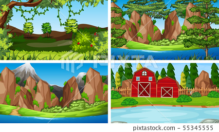 Set of scenes in nature setting 55345555