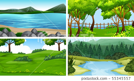 Set of scenes in nature setting 55345557
