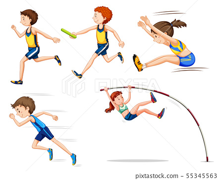 Sporting activity people on white background 55345563