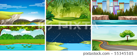 Set of day and night nature scenes 55345585