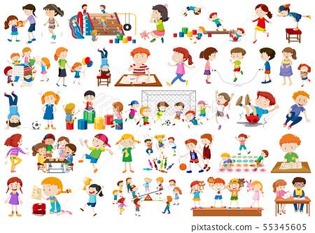 Boys, girls, children in educational fun activty 55345605