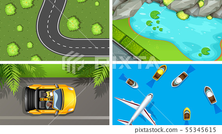 Set of top view aerial scenes in nature and 55345615
