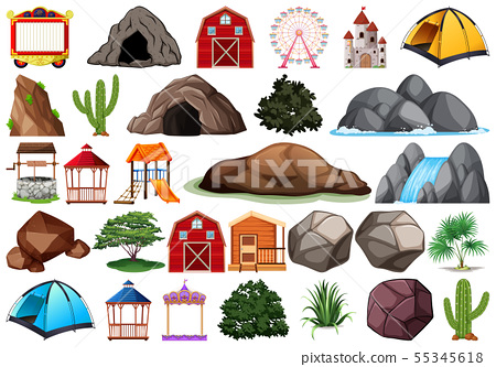 Collection of outdoor nature themed objects and 55345618