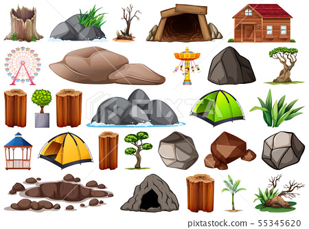 Collection of outdoor nature themed objects and 55345620