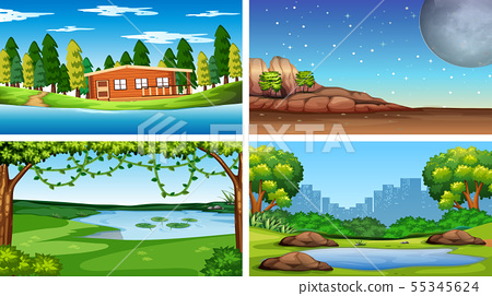 Set of nature scenes day and night 55345624
