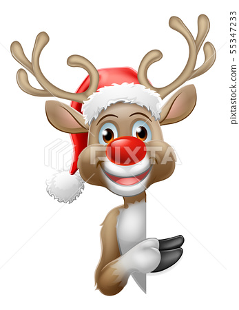 Reindeer in Santa Hat Christmas Cartoon 55347233