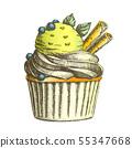 Color Tasty Ice Cream Cake Sweet Dessert Vintage Vector 55347668