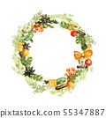 Watercolor Christmas wreath 55347887