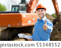 Architect thumbs up in a construction site 55348552