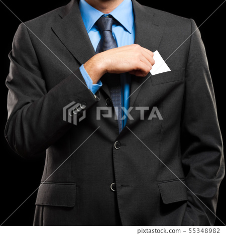 Unrecognizable businessman taking a greeting card 55348982