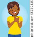 Young African American woman with hands on heart 55350325