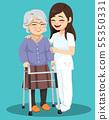 Cheerful senior woman walking with walker 55350331