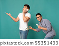 Thief Stealing Money From Man's Back Pocket On Turquoise Background 55351433