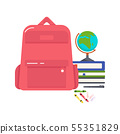 Vector colorful illustration of a school backpack, books, globe, crayons, pen and paper clips on a 55351829