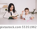 Pretty mother with cute daughter sitting with book in the room at home. 55351962