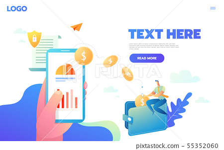Vector concept of worldwide money transfer. Sending yellow coins from smart phone in businessman 55352060