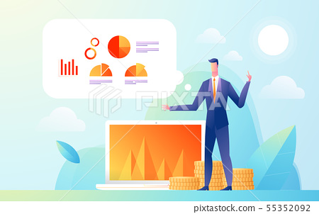 Business man showing presentation to audience with data and graph statistic. Flat Isometric Design 55352092