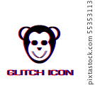Monkey head icon flat. 55353113