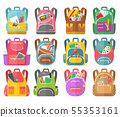 Backpacks Full Stationery Objects, Back to School 55353161
