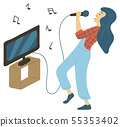 Hobby Karaoke, Woman Singing, Music and Tv Vector 55353402