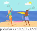 Beach Badminton Summer Sport Game, Man and Woman 55353770
